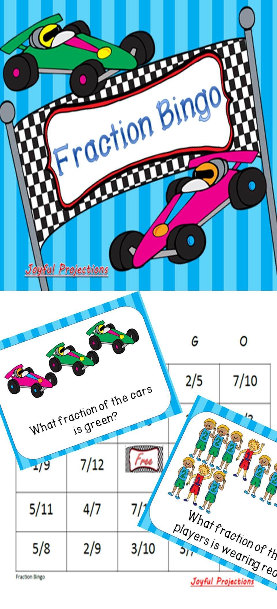 Fractions - Identifying Fractions Bingo (Classroom Activity w/ 35 ...