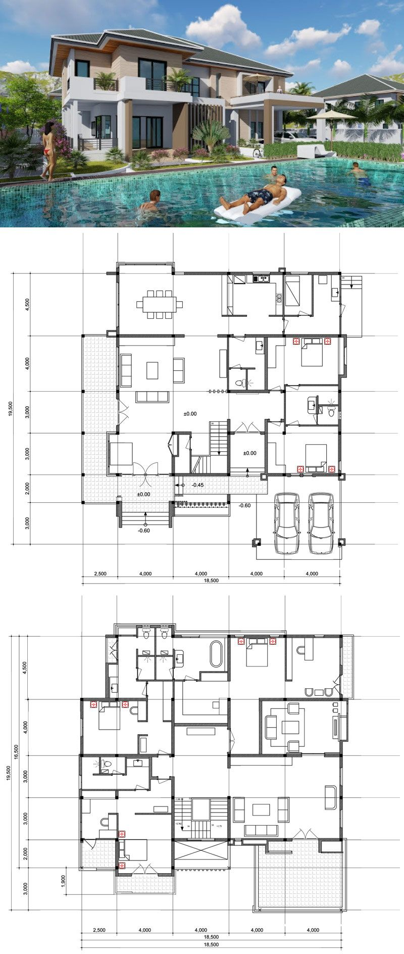 Luxurious 6 Bedroom Home With Five Bathrooms And Swimming Pool Provision Pool House Plans Luxury House Plans Luxury House Designs