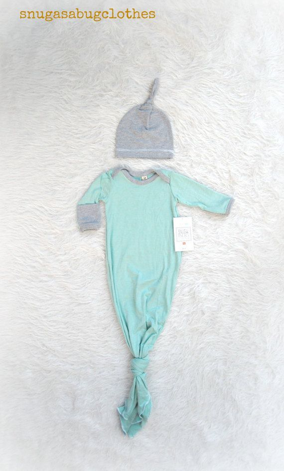 take home outfit baby boy gown and hat mint by