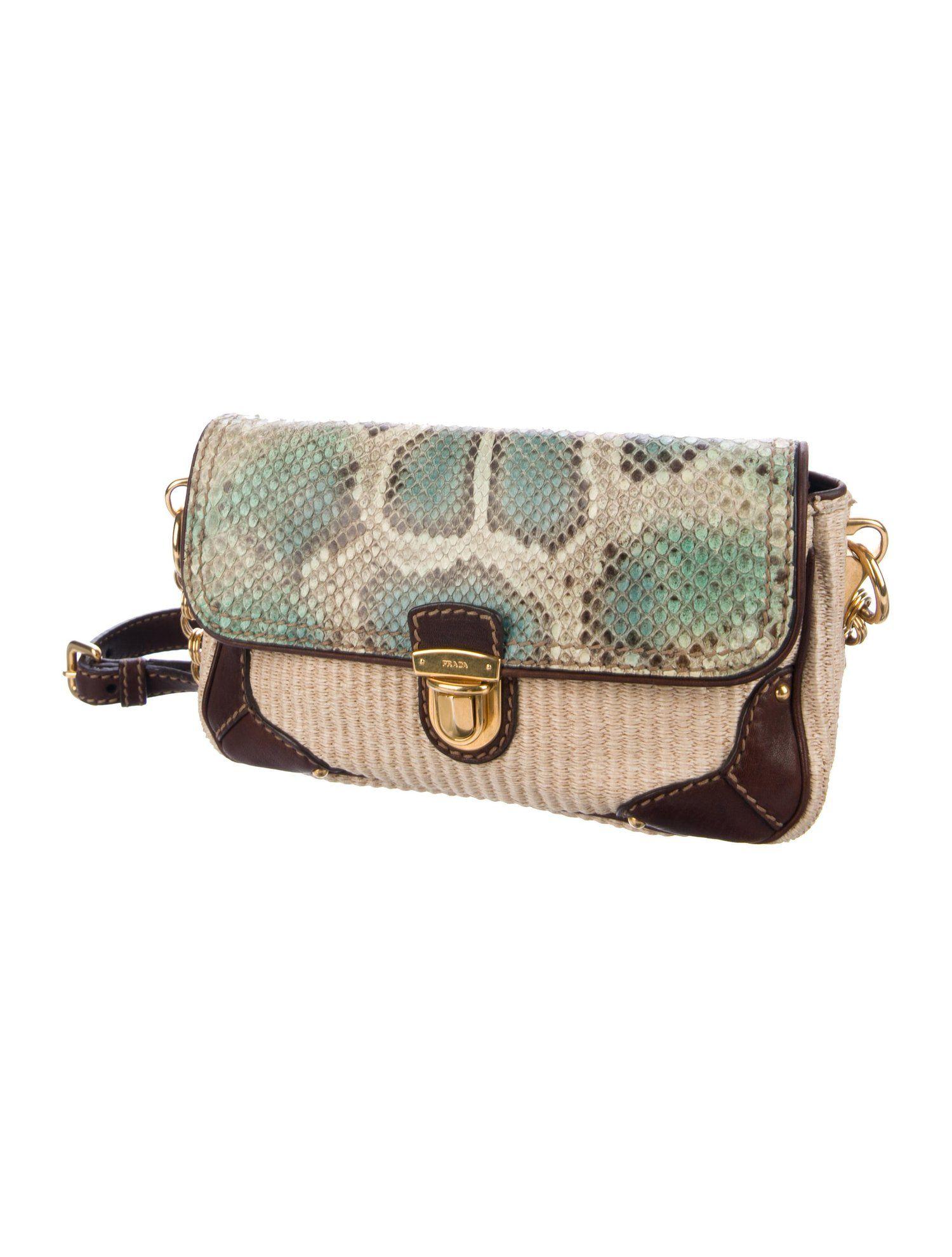 6af82fadedc4 Prada Snakeskin-Trimmed Shoulder Bag #Snakeskin #Prada #Trimmed ...