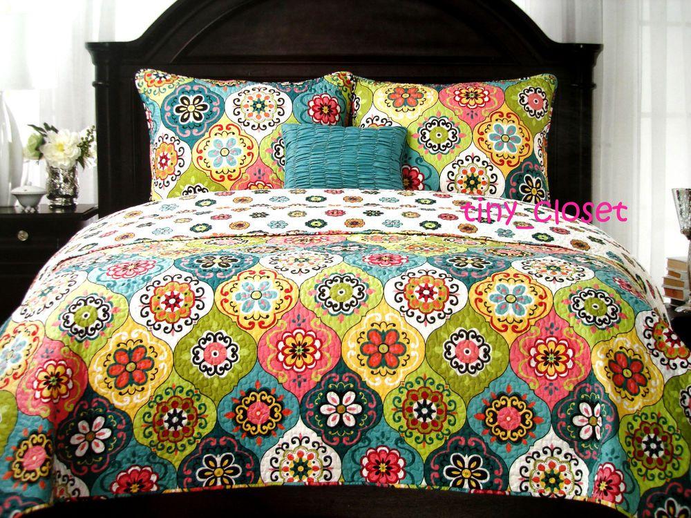 New Cynthia Rowley 3pc Souzanni Medallion Boho Twin Quilt Sham Throw Pillow Set Home Decor Bedding Boho Bedroom Decor Decor