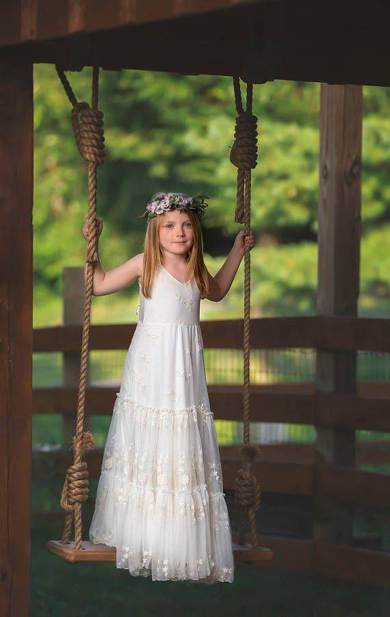 Boho-Chic Mädchenkleid, Vintage Ivory Spitze Blumenmädchenkleid ...