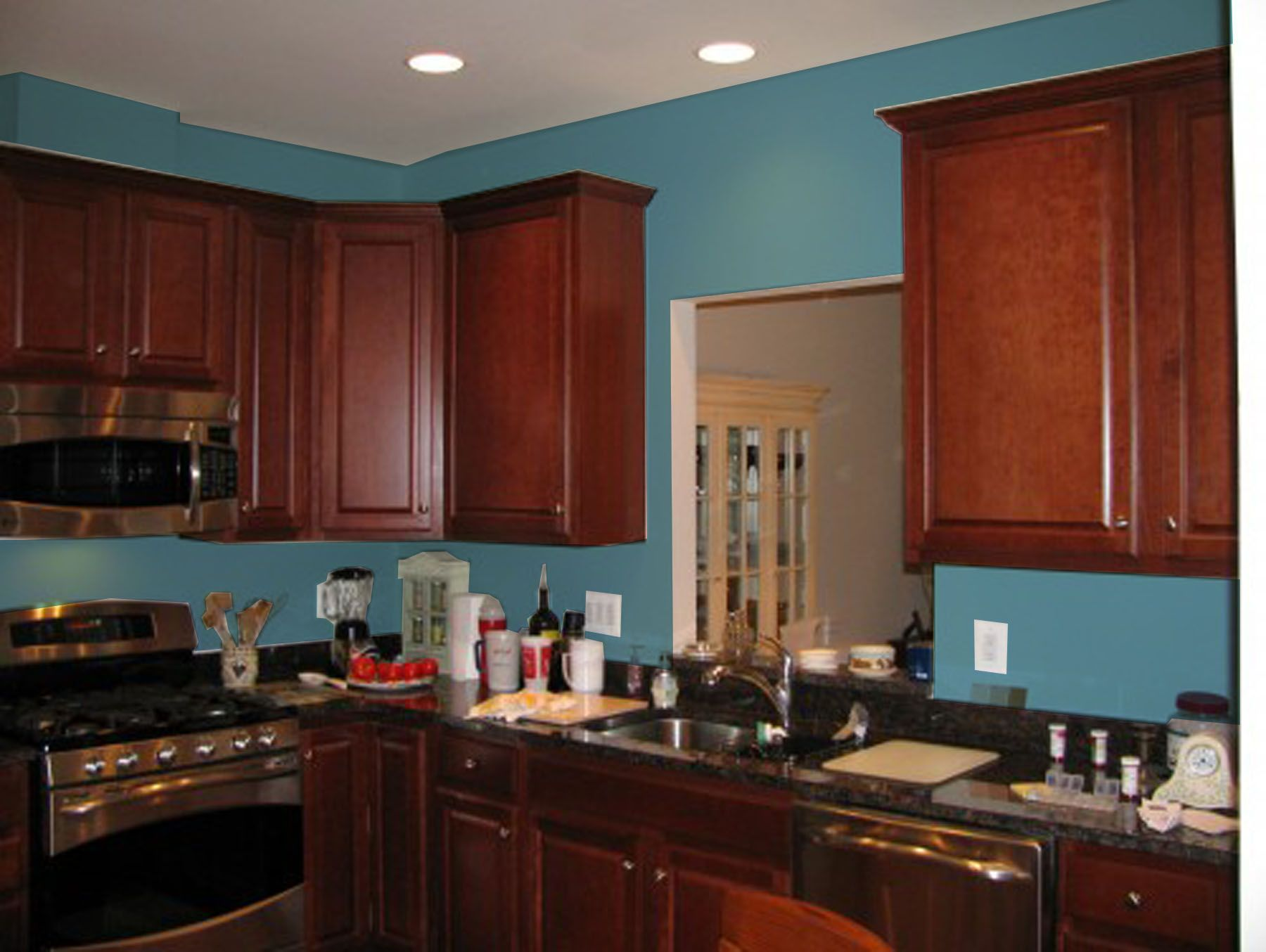 Kitchen With Cherry Cabinets Door Jpg 1800 1354 Grey Painted Kitchen Kitchen Cabinets With Black Appliances Kitchen Wall Colors