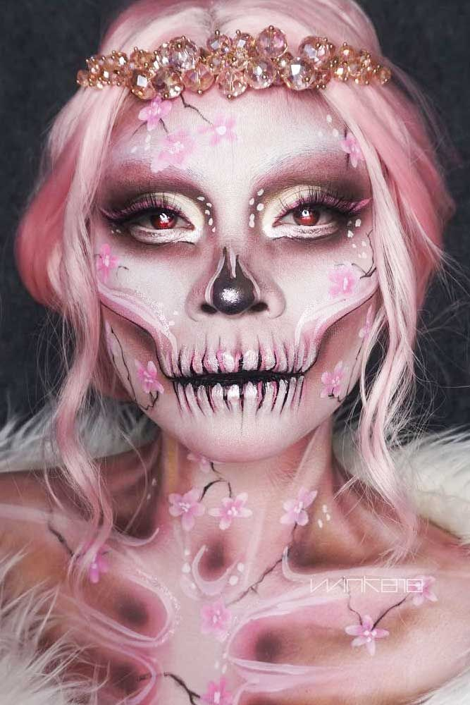Photo of Sakura Sugar Skull Makeup #sakurafaceart #pinkskeleton  A real Halloween look ca…