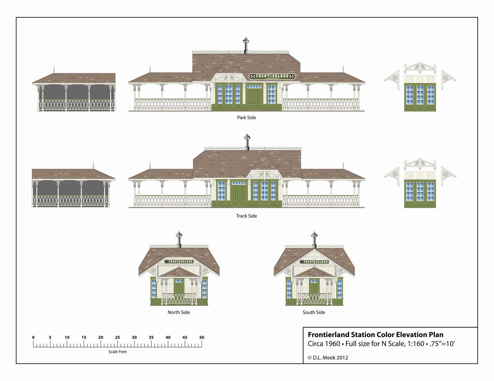 Scale Model House Plans Elegant Disneyland Frontierland Station Plan Free Download In 2020 Model House Plan Model Homes Ho Scale Buildings