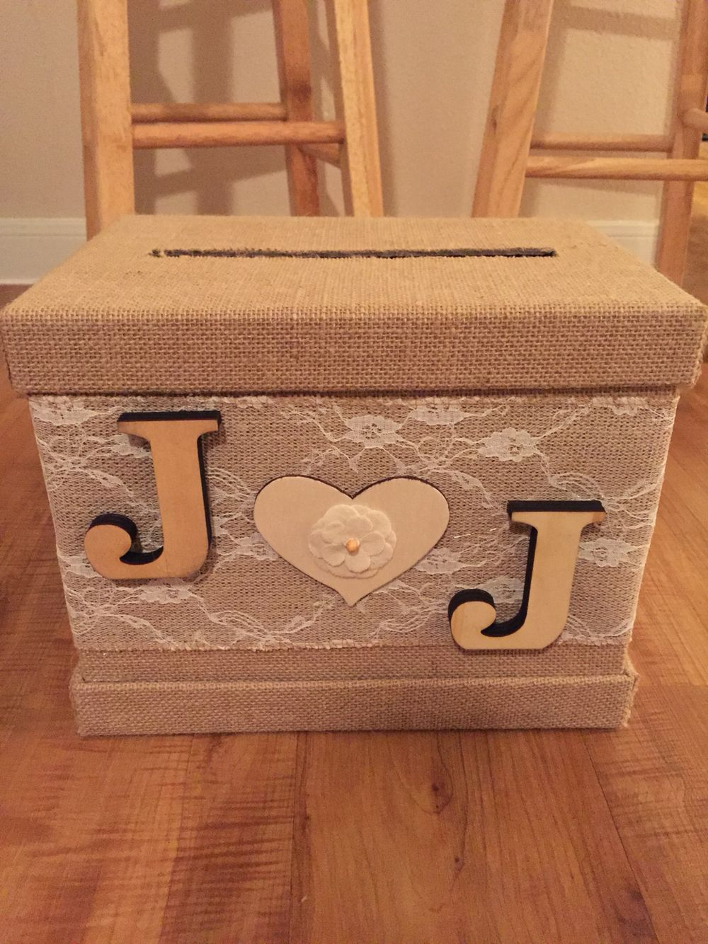 Made a burlaplace themed wedding card box for a friend  wedding