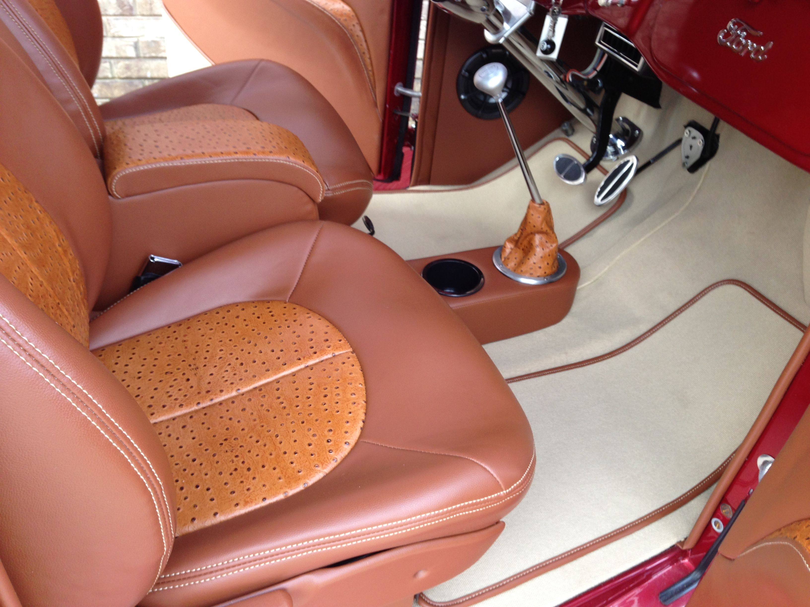 1936 Ford Pick Up Truck Custom Made Seats And Center Console Accented With Exotic Ostrich Vinyl