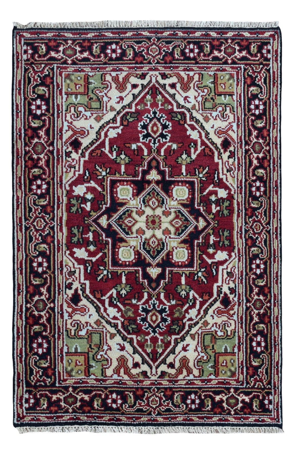 Black and Red Heriz Small Rug 4'X6'