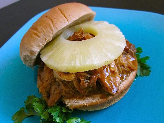 Teriyaki Pork Sandwiches. 3 lbs. pork butt roast (boston butt) $7.96 1 medium sweet onion $0.53 1 cup teriyaki sauce $1.99 1 can (15 oz.) pineapple slices $1.27 1 inch fresh ginger (optional) $0.13 3 Tbsp all-purpose flour $0.02 8 pack hamburger/sandwich buns $1.50