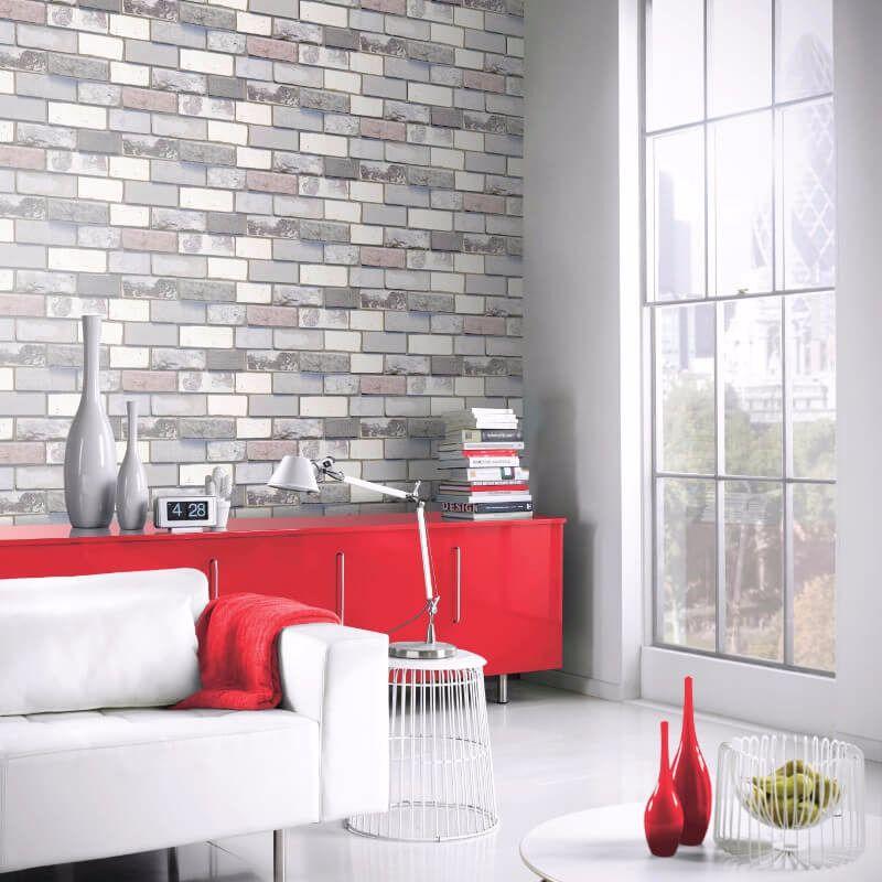 arthouse opera industrial brick grey wallpaper inspired by the rh pinterest com