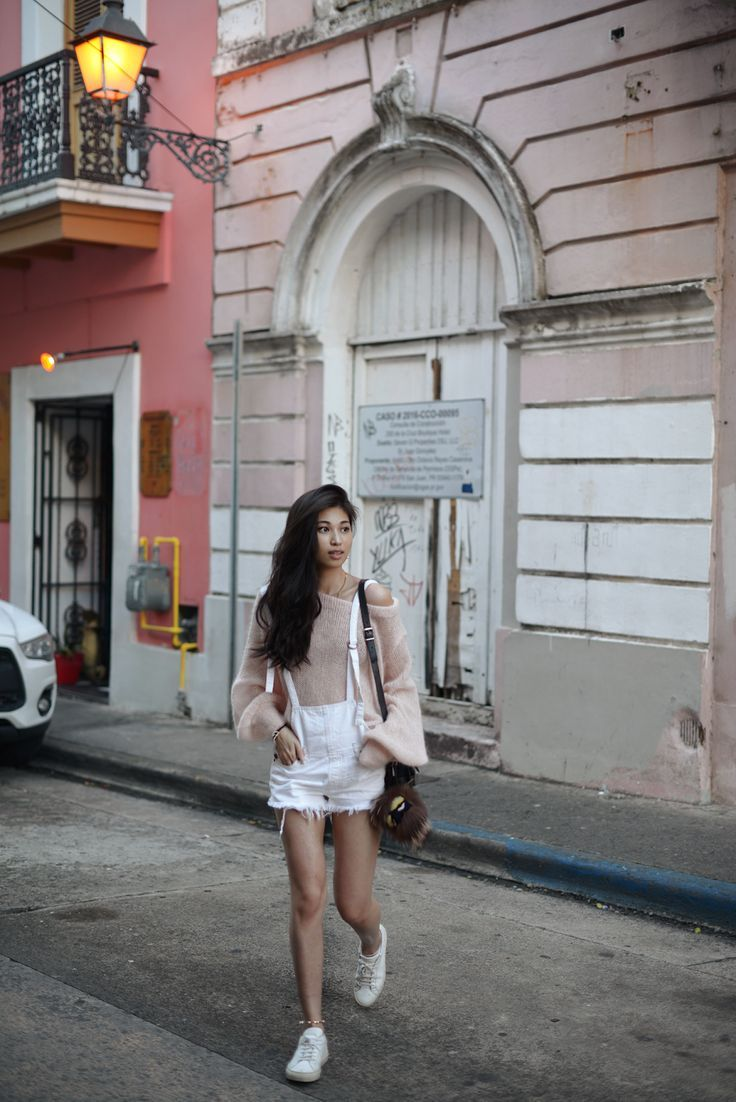 3147f8435542  PinkSweater  Overalls Outfit in Old San Juan   FOREVERVANNY.com