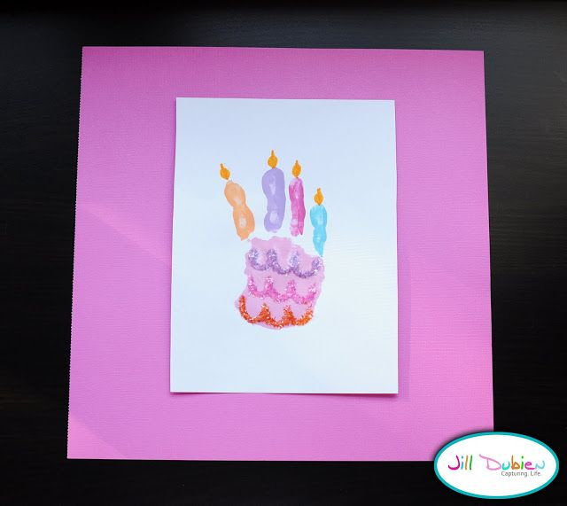 Meet the Dubiens handprint birthday cake craft Pinterest
