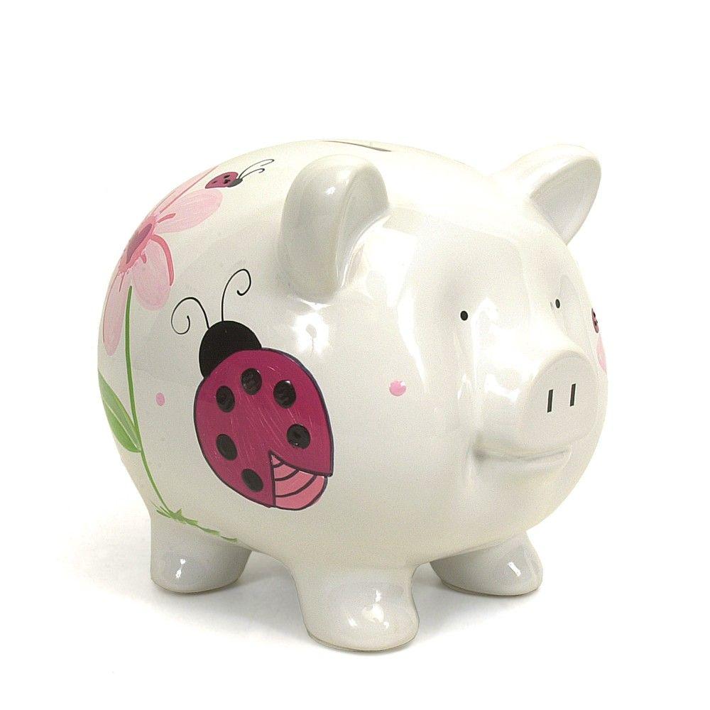 personalized piggy bank  glitter piggy bank  custom piggy bank  - personalized piggy bank  glitter piggy bank  custom piggy bank  keepsakebaby shower gifts  piggy bank personalized  baby shower gifts  pinkladybugs