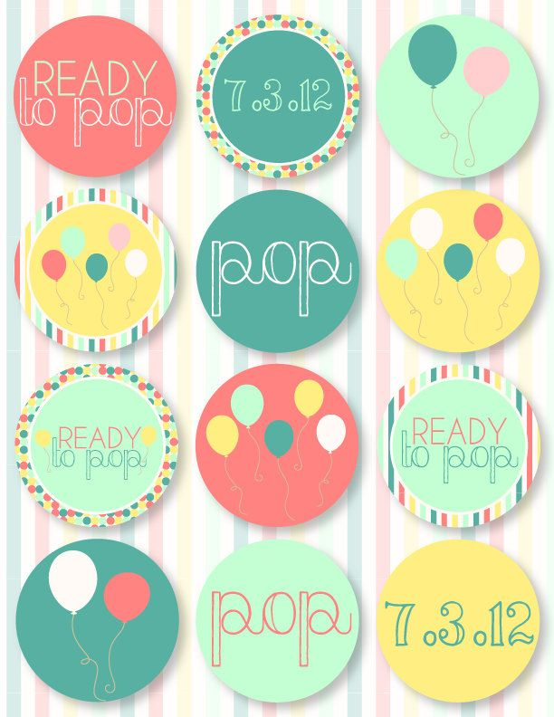 Ready To Pop Baby Shower PRINTABLE Party Circles by Love The Day - free baby shower label templates
