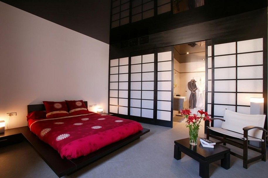 Oriental Bedroom Designs Captivating Accessories & Furniturestunning Japanese Bedroom With Red Color Decorating Inspiration