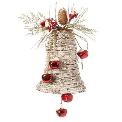 Frosted Grapevine Bell Christmas Decoration Made of Grapevine
