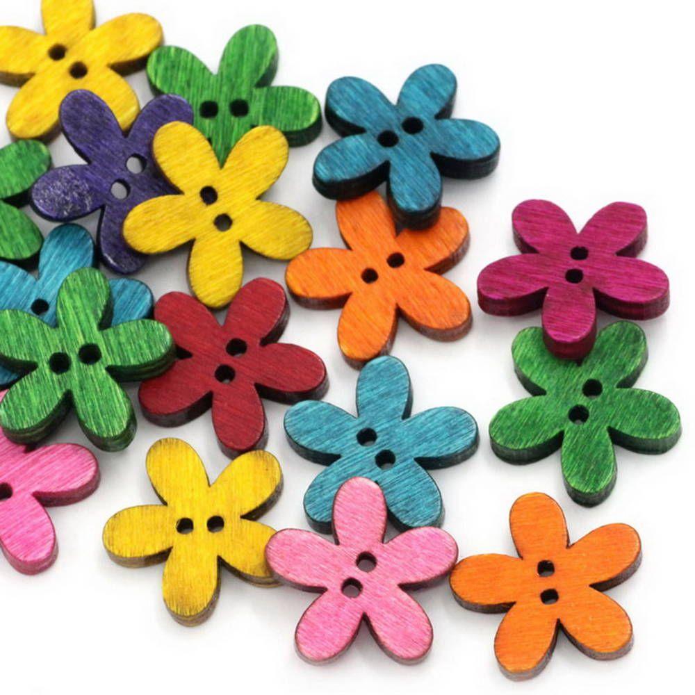 Drevené gombíčky kvetinky (balíček 20ks)