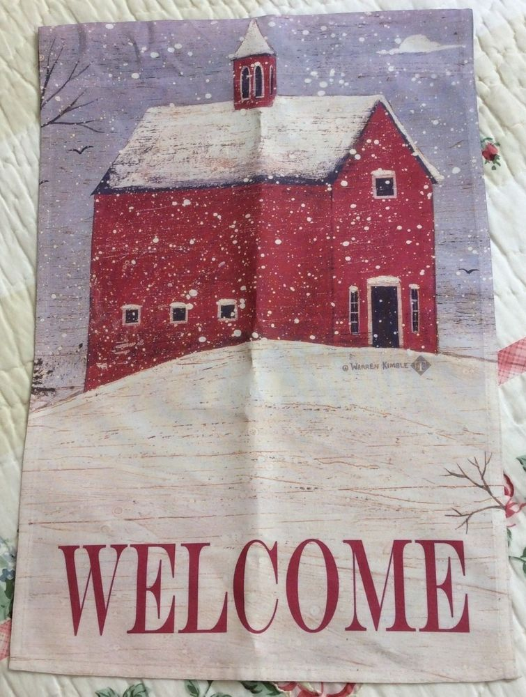 Small Garden Flag 17 5 X12 Winter Welcome Snow Red Barn Church