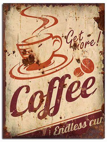 Amazon.com - Get More Coffee - (Vintage / Retro / Old) - Wooden Wall ...