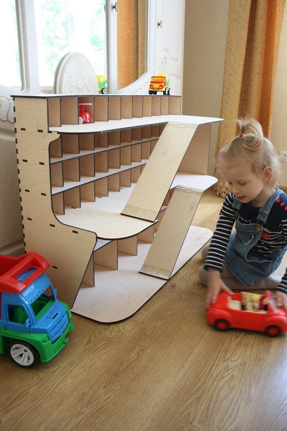 Autoregal, Holzgarage, LKW-Autogarage, Geschenk für junge, großes Auto Regal, Spielzeug Regale, Holz Spielzeug Garage, Holz Garage Spielzeug