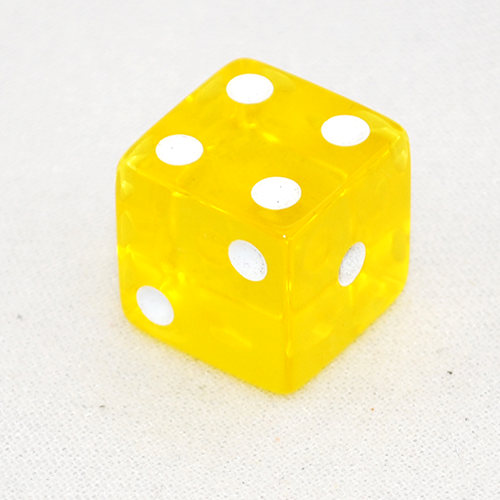 Big Transparent Yellow 6 Sided Square Dice