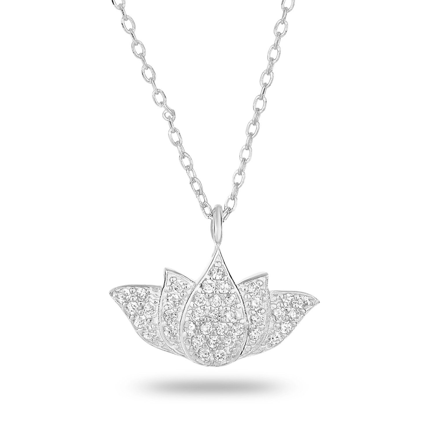Lotus flower pave necklace