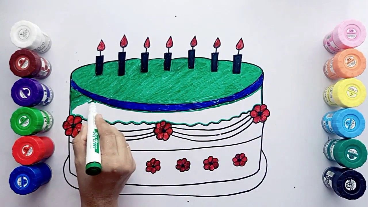 Drawing And Coloring Birthday Cake For Kids Coloring Page For Children Learn Art Color Video Y Coloring Pages For Kids Coloring For Kids Drawing For Kids