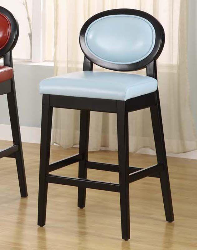 Admirable Armen Martini 30 Blue Leather Barstool With Black Legs Dailytribune Chair Design For Home Dailytribuneorg