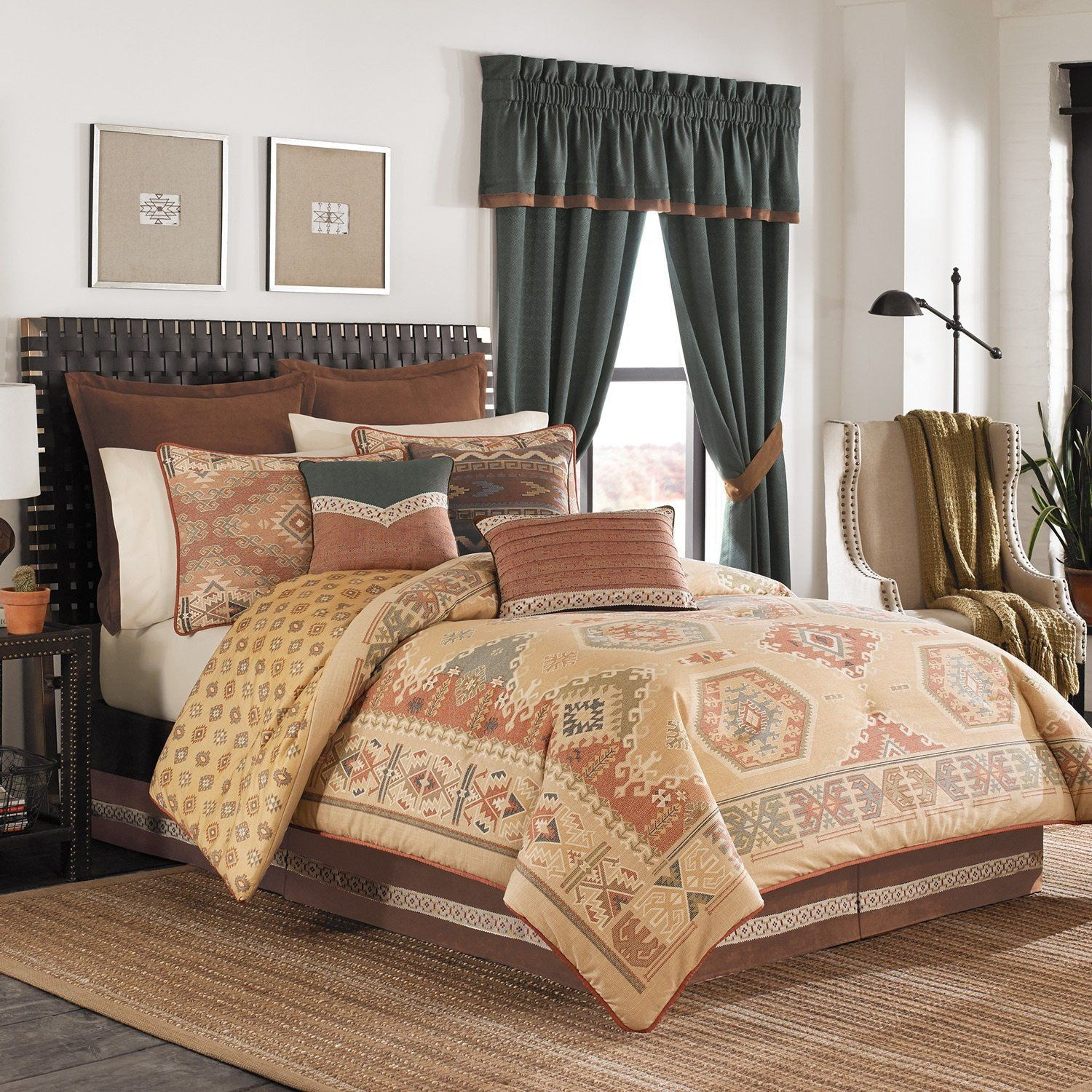 bedding geometric and style basic daring piece ideal rust comforter larsen southwestern shades contrast of stripes taupe is comforters in southwest an smoky set patterns
