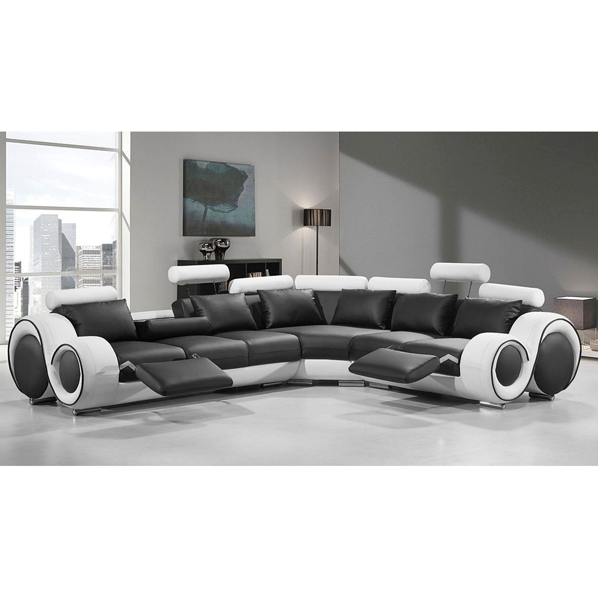 renaissance black white leather l shaped sofa with rounded armrests rh pinterest de