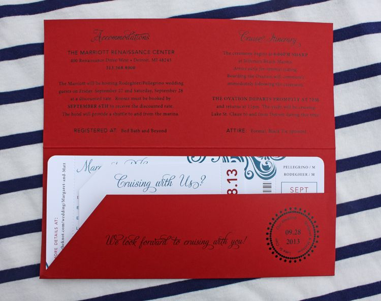 Cruise Wedding Invitation Wording Examples: Red & Blue Swirl Yacht Cruise Boarding Pass Wedding