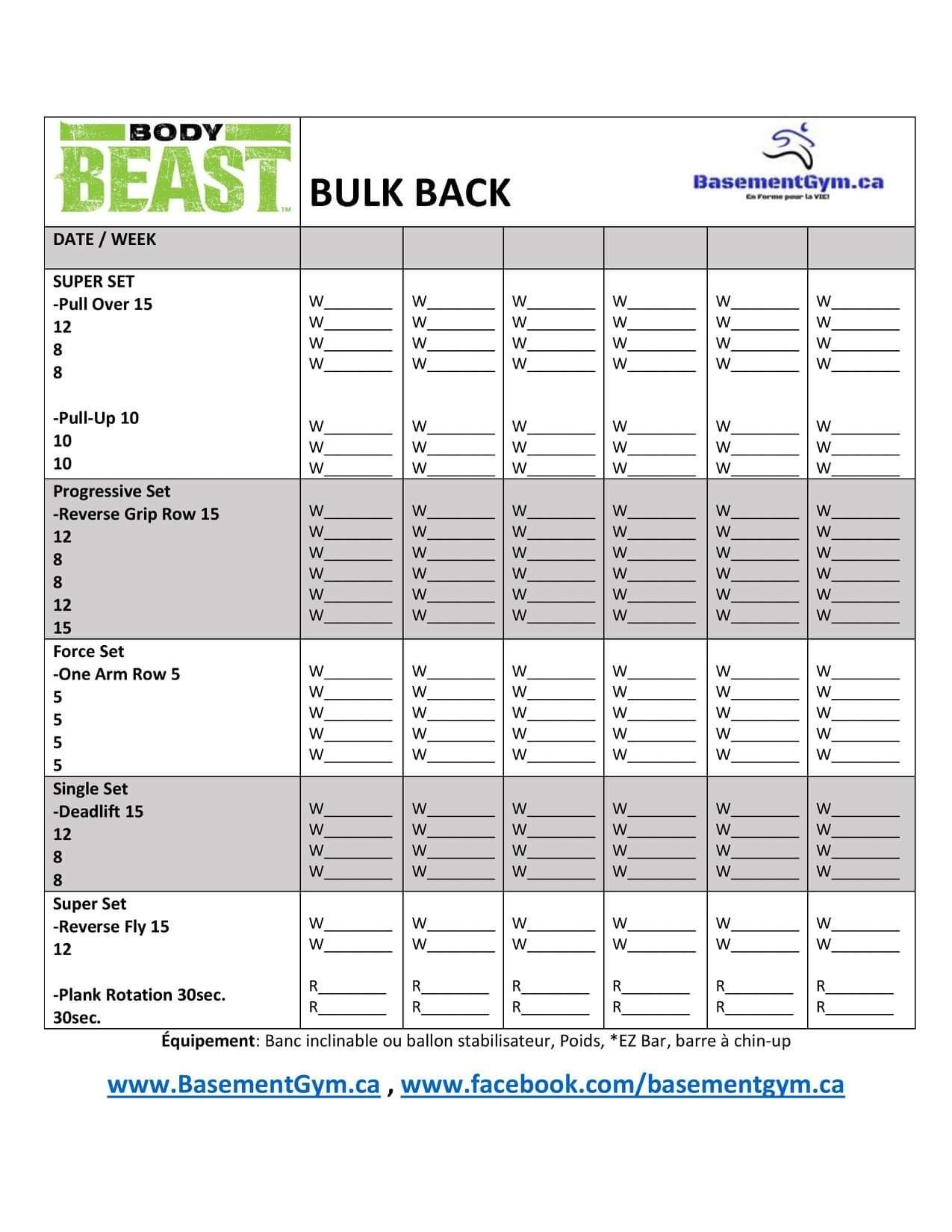 Arms Body Beast Build Worksheet