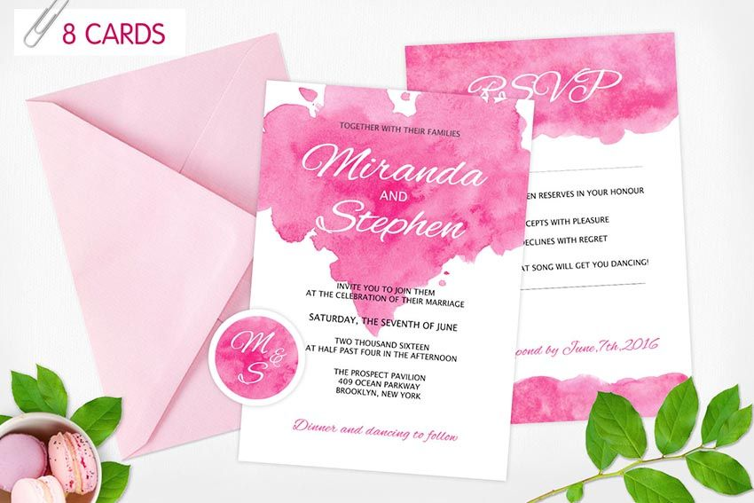 Watercolor Wedding Invitations with floral design