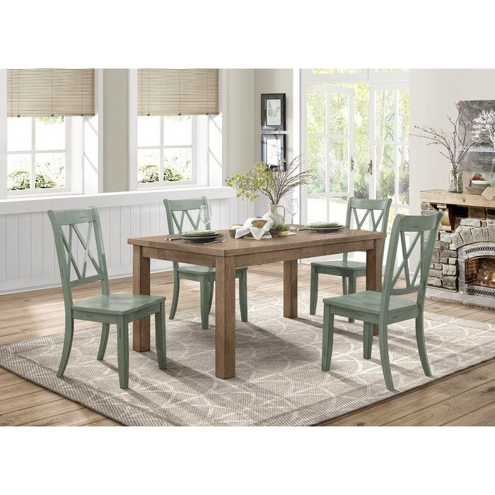 Country Teal Criss Cross Dining Chairs Set of