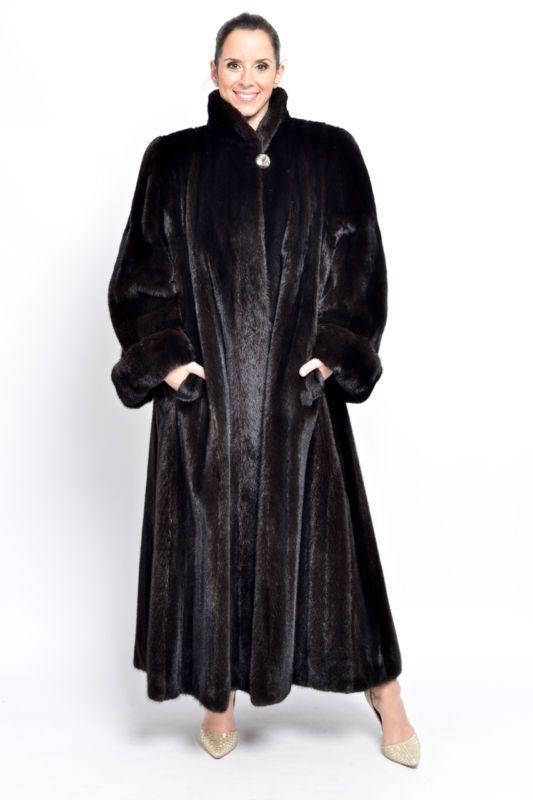 Details about XL elegant dark brown mink fur coat Classic design Visone Visón Soft Swinger
