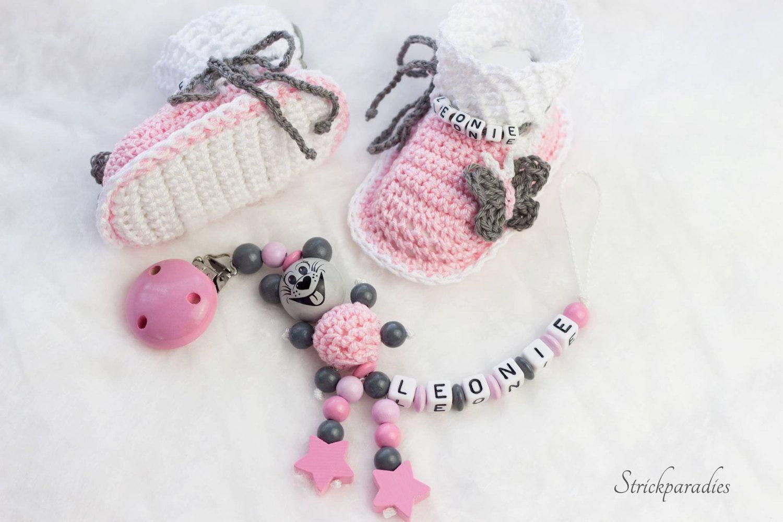 Schnullerkette mit Namen Mädchen Rosa Grau mit Strass Babygeschenk Taufe Geburt
