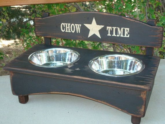 Rustic Wood Black Dog Feeder With Stainless Steel Bowls