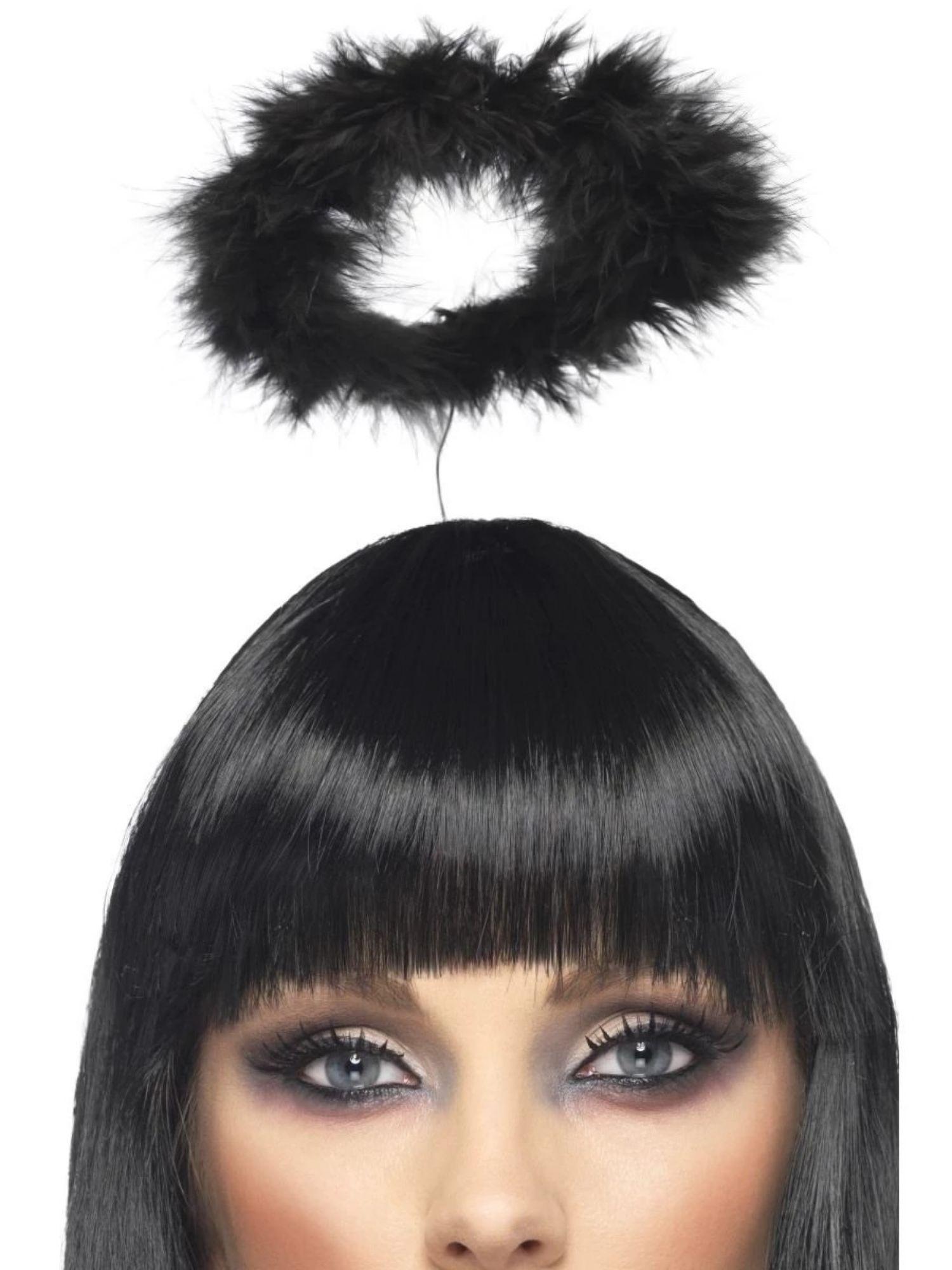Womens Black Angel Halo Headband Fancy Dress Costume Accessory