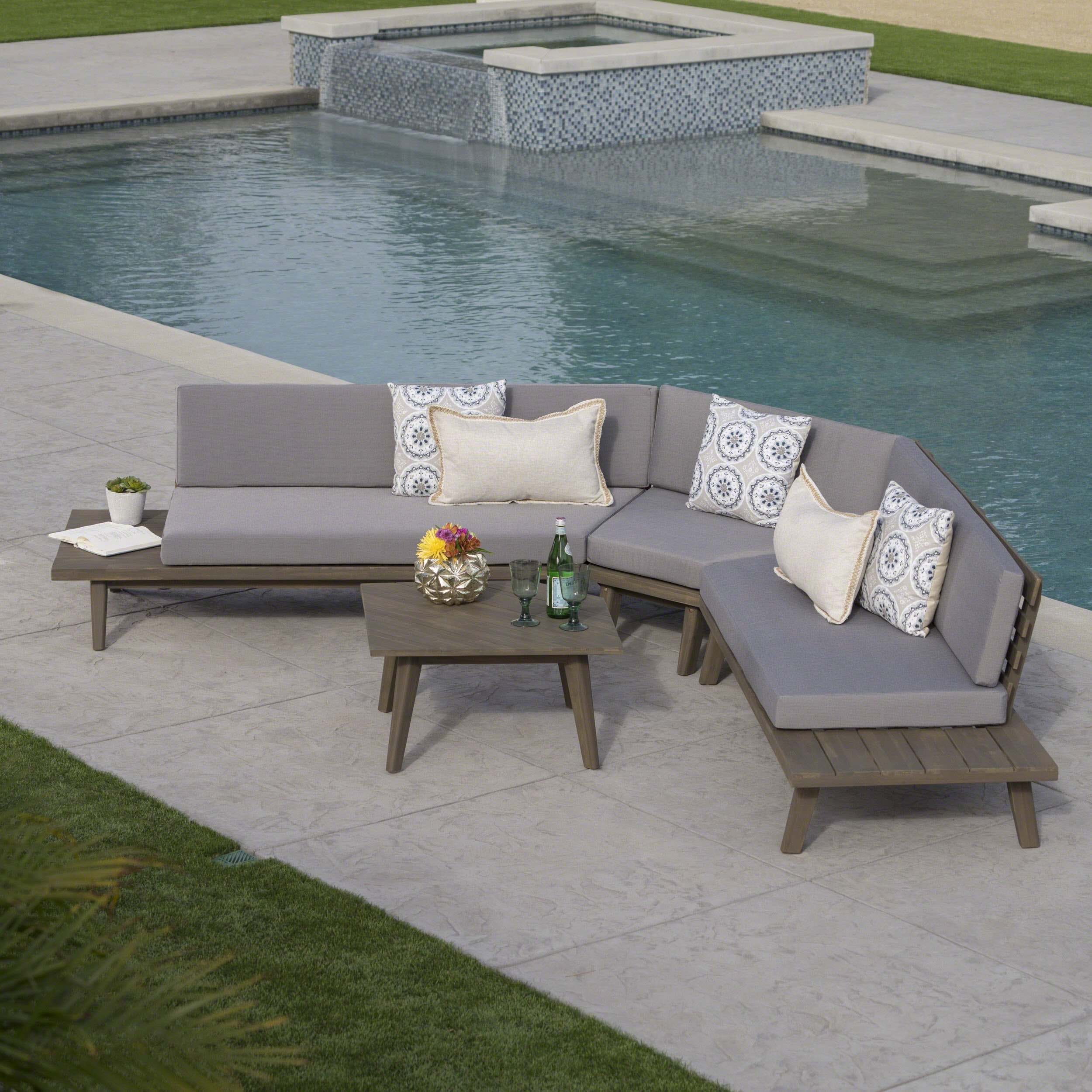 hillside outdoor v shaped 4 piece acacia wood sectional sofa set in rh pinterest com