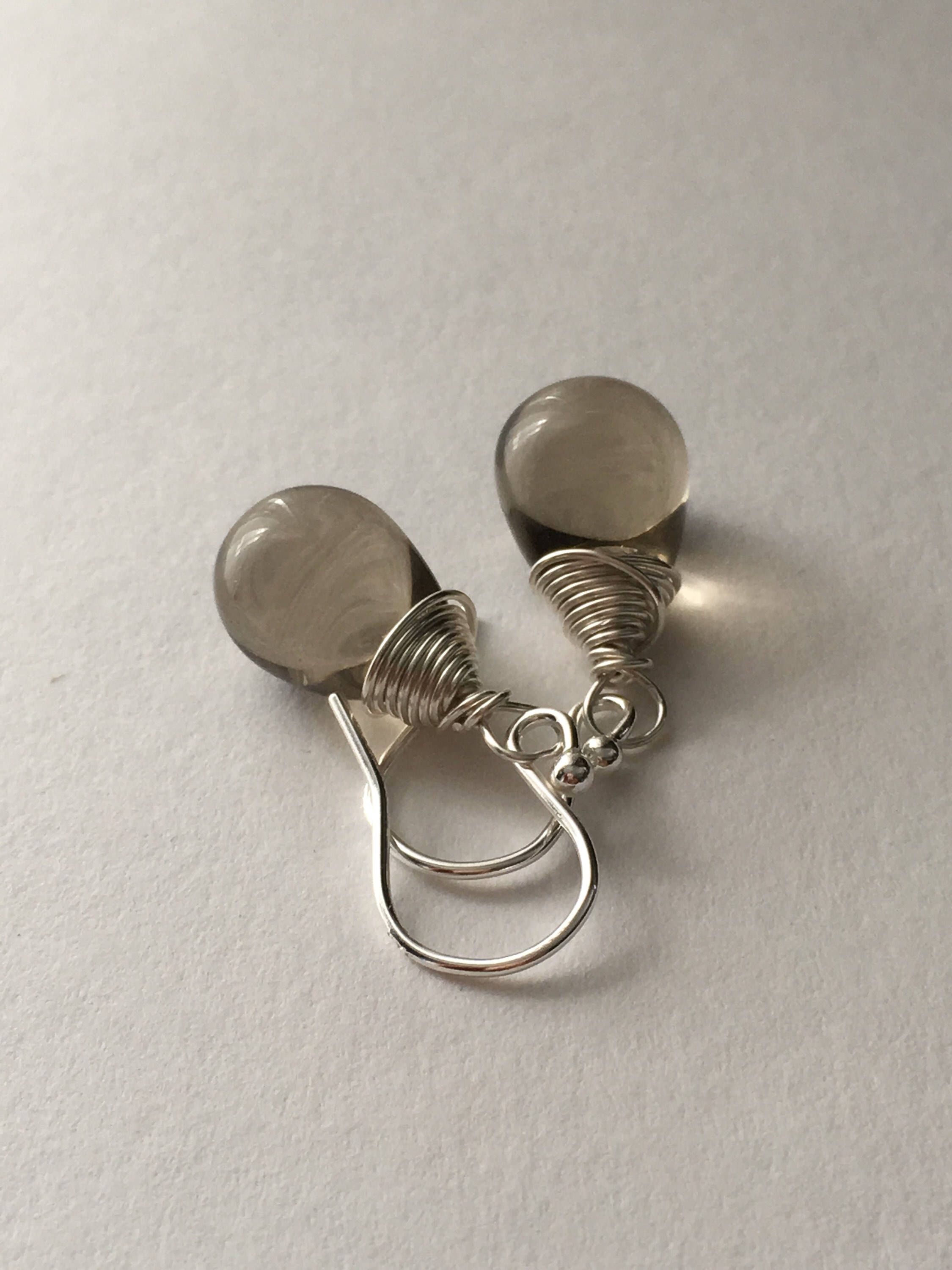 Grey Teardrop Earrings Sterling Silver Briolette Contemporary Wedding