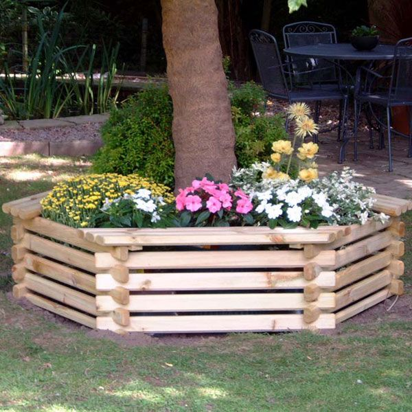 Wrapped Around Tree Flower Bed Wooden Garden Planters 400 x 300