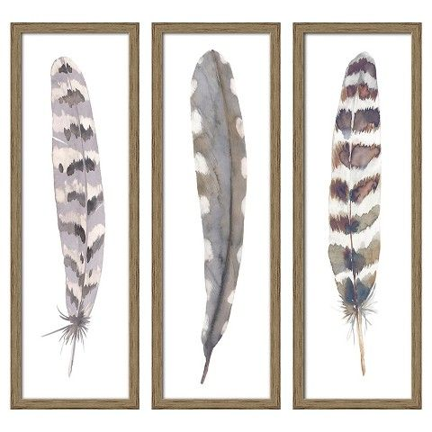 "Wall Art Target 12""x36"" framed 3-pack feathers - threshold™ 