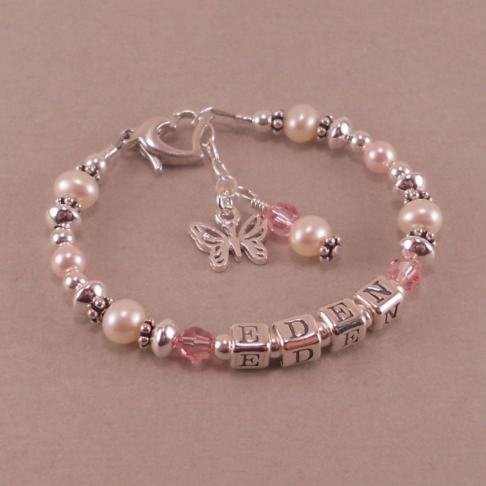 Childs Name Bracelet, White Pearls, Birthstone