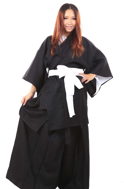 WS_COS Bleach Cosplay Costume Kuchiki Rukia Shinigami Black Female Kimono XL…