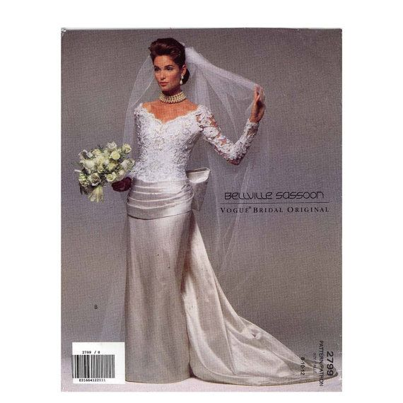 90s Belleville Sassoon Wedding dress Sewing Pattern Vogue 2799 Sz ...