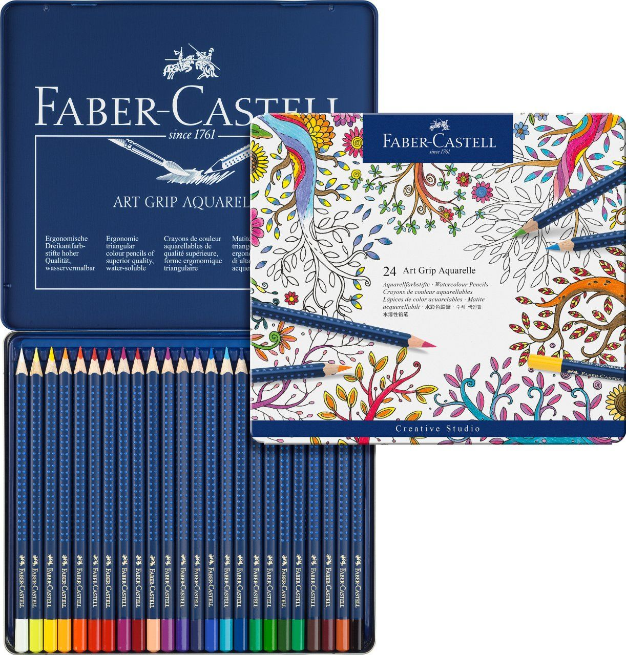 Faber Castell Art Grip Aquarelle Watercolor Pencil Set Tin Of 24