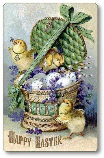 Item 736 Vintage Victorian Style Easter Basket Plaque Vintage