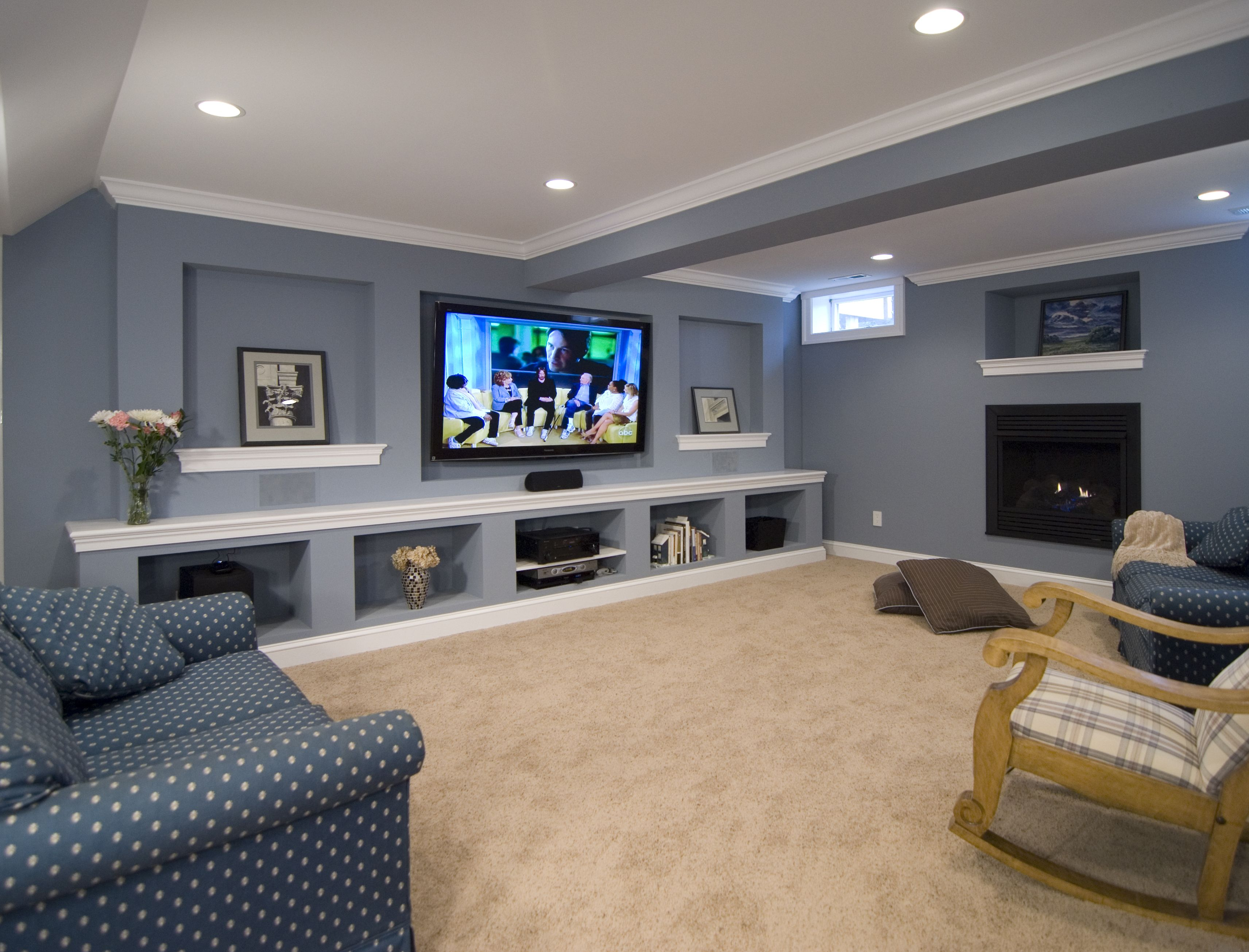Basement Tv Ideas This Remodeled Basement Includes An Entertainment Wall And