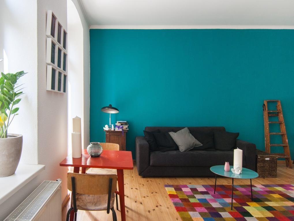 Bunter Teppich Und Blaue Wand - Farbenfrohe Einrichtung. #Wohnen