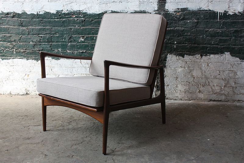 Rare Ib Kofod Larsen Danish Mid Century Modern Caned Back Lounge Chair Model 632-15 for Selig (Denmark, 1960s)
